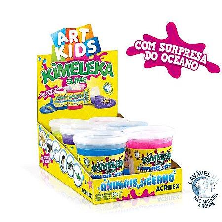 Brinquedo Caixa C/6  Slime Kimeleka Animais Oceano Acrilex