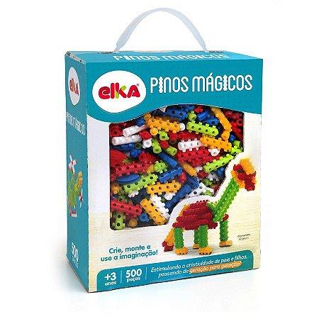 Brinquedo Blocos De Montar Pinos Mágicos 500 Peças Elka 939
