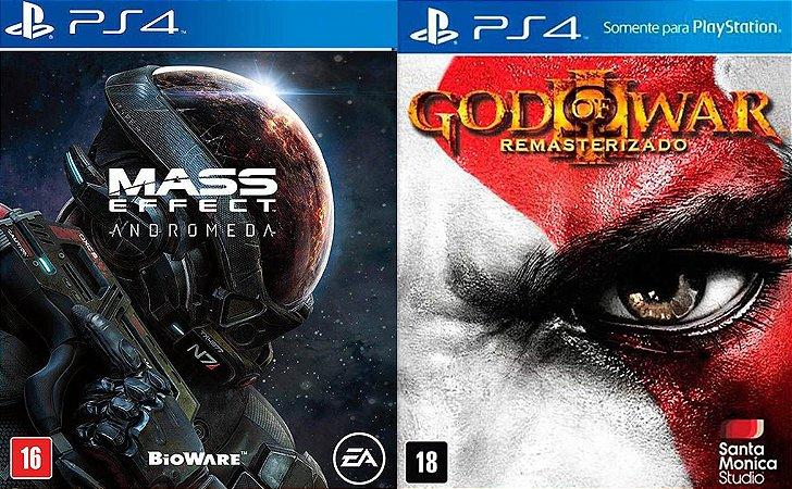 Combo Jogos God Of War 3 + Mass Effect Andromeda Para Ps4