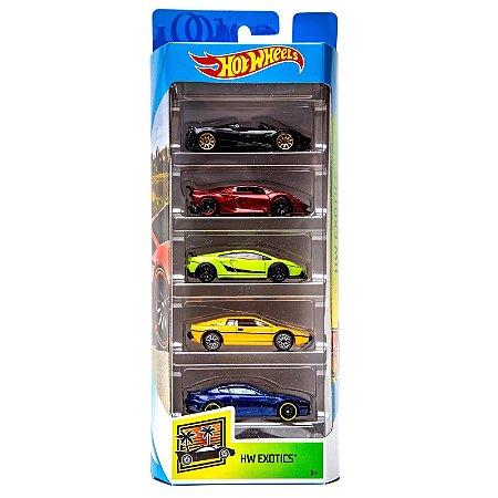 Carrinhos Hot Wheels Pacote com 5 Carros HW Exotics 2 Fyl17