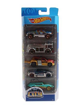 Carrinhos Hot Wheels Pacote com 5 Carros City 3 Mattel Fyl24