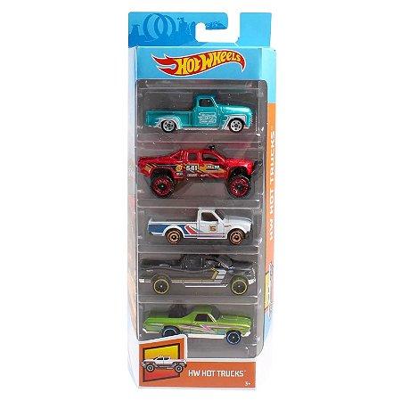Carrinhos Hot Wheels Pacote com 5 Carros Hot Trucks 2 Fyl18