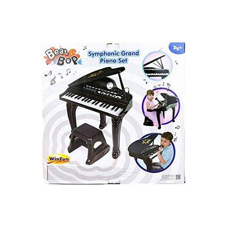 Brinquedo Piano Sinfonia Preto Com Microfone WinFun 2045