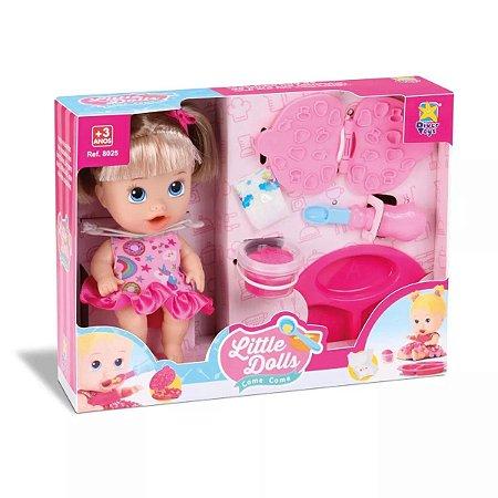 Boneca Little Dolls Come Come Loira Divertoys 8071