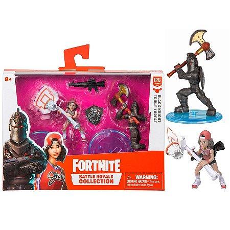Pack 2 Figuras Fortnite Black Knight Triple Threat Fun 84707