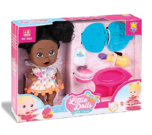 Boneca Little Dolls Come Come Morena Divertoys 8053