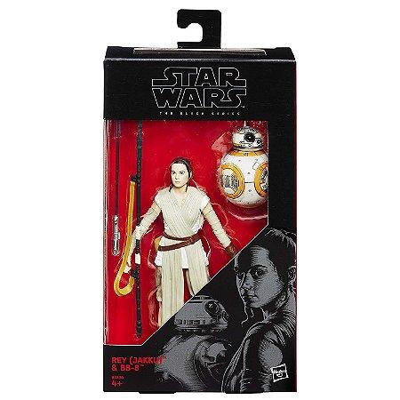 Novo Boneco Star Wars The Black Series Rey Jakku e BB8 B3834