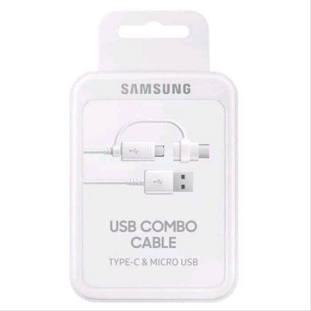 Cabo Combo com 2 Saidas Usb-C e Micro Usb Branco Samsung