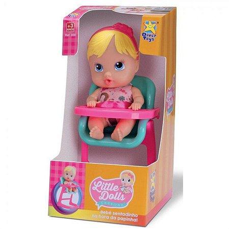Boneca Loira Little Dolls Cadeirão Divertoys 8012