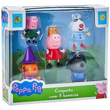 Brinquedo Peppa Pig e Amigos Conjunto com 5 Bonecos Dtc 4200