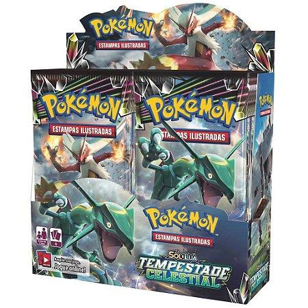 Box Boosters Pokemon Sol e Lua 7 Tempestade Celestial Tcg