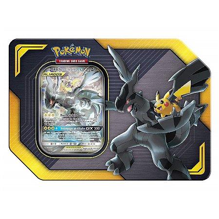 Pokemon Lata Porta Cards Aliados Gx Pikachu e Zekrom Copag