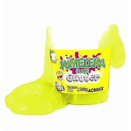 Kimeleka Slime Glitter Balde 2,5 Kg Amarelo Acrilex 05825