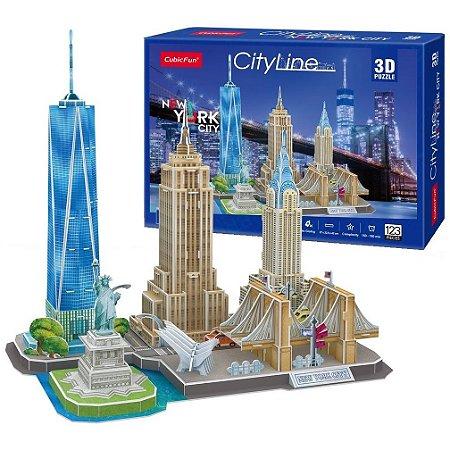 Quebra cabeça 3D Puzzle City Line Cidade de Nova York MC255h