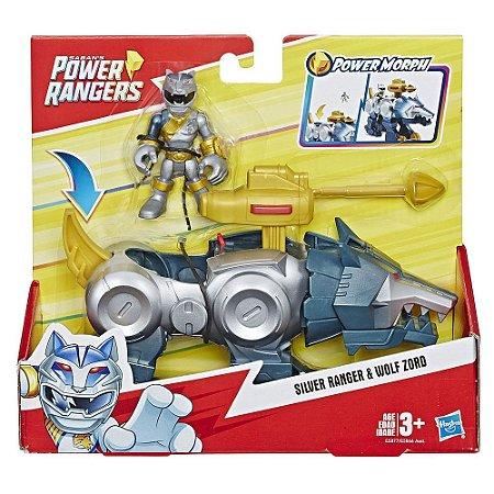 Boneco Power Rangers Silver Ranger e Wolf Zord Hasbro E5866