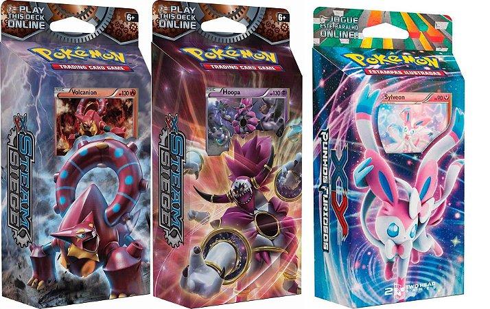Combo 3 Decks Pokemon Hoopa + Volcanion + Sylveon Copag