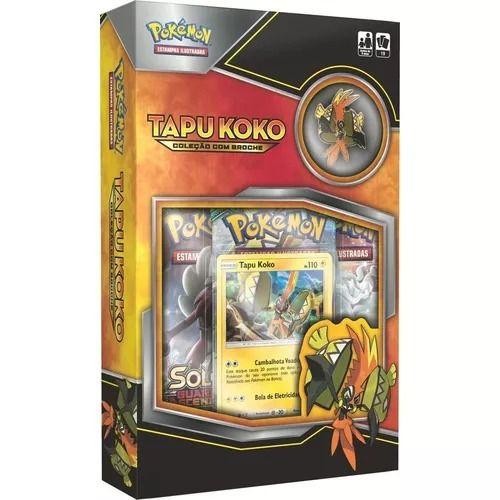 Pokemon Mini Box Tapu Koko Com Broche Original Copag