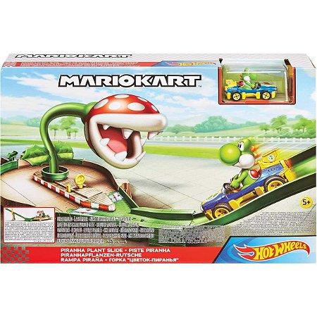 Hot Wheels Mario Kart Planta Piranha com Veiculo Yoshi Gcp26