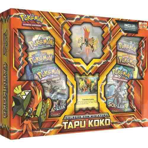 Box Cards Pokemon Tapu Koko Com Miniatura Copag