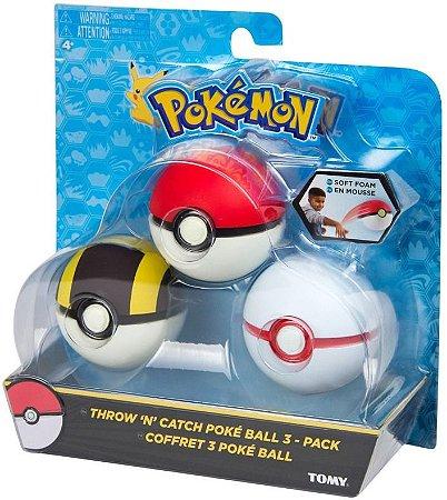 Brinquedo Pokemon Kit Com 3 Pokebolas Varios Modelos