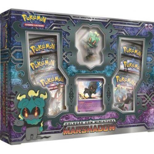 Box Cartas Pokémon Marshadow com Miniatura Copag