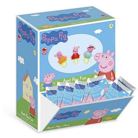 Doce Pirulito Anel Fun Pop Peppa Pig Caixa com 32 Dtc 4303