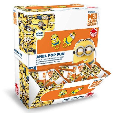 Doce Pirulito Anel Pop Fun Minions Caixa com 32 Sortido 4841