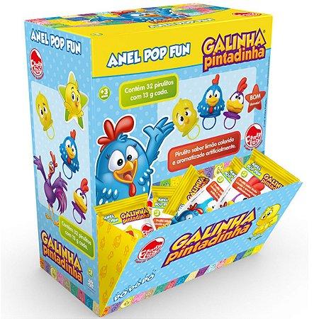 Doce Pirulito Anel Pop Galinha Pintadinha Caixa com 32 4981