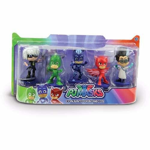 Brinquedo Kit Com 5 Bonecos Heróis De Pijama PJ Masks Disney