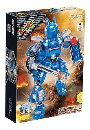 Brinquedo Blocos De Montar Banbao Robô Fighter Azul 6312
