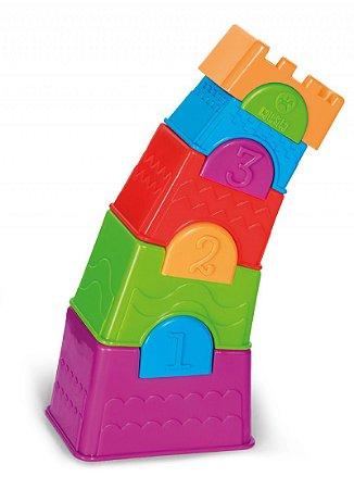 Novo Brinquedo Torre Maluca Calesita 10 Peças Empilhaveis