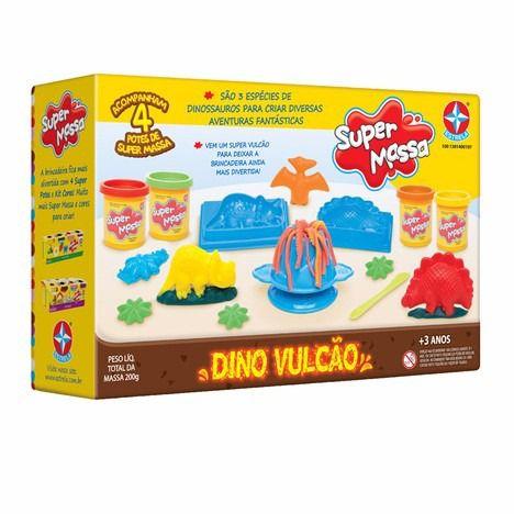 Brinquedo Super Massa Dino Vulcão C/ 4 Potes Estrela