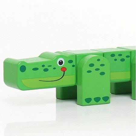 Dican - Jacaré de Brinquedo em Blocos de Madeira - 3936