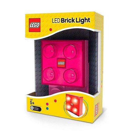 Brinquedo Led Brick Light Lego Bloco Luminoso Rosa 41039
