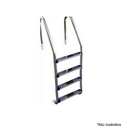 Escada para Piscina - Aço Inox 304 - 4 Degraus em Aço Inox  - Quantidade de 3 a 8