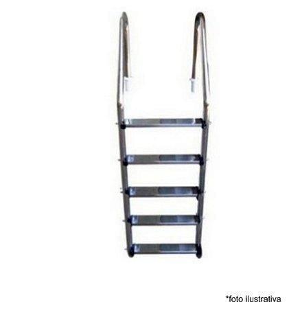 Escada para Piscina - Aço Inox - 5 Degraus em Aço Inox  - Quantidade de 3 a 8