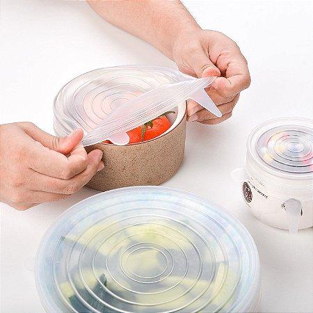 Kit 6 Tampas Silicone Pote Panela Universal Flexível Lavável