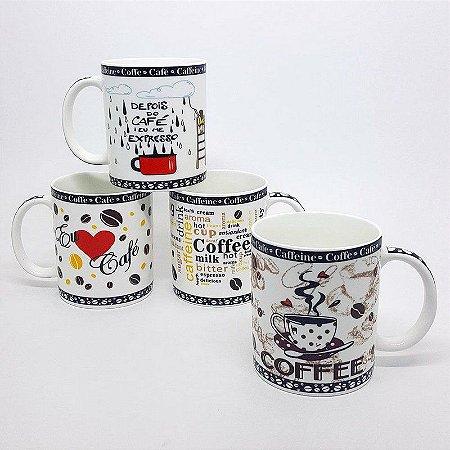 Jogo de Canecas Love Coffee - 4 peças
