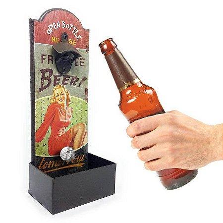 Abridor de Garrafa de Parede Free Beer Tomorrow