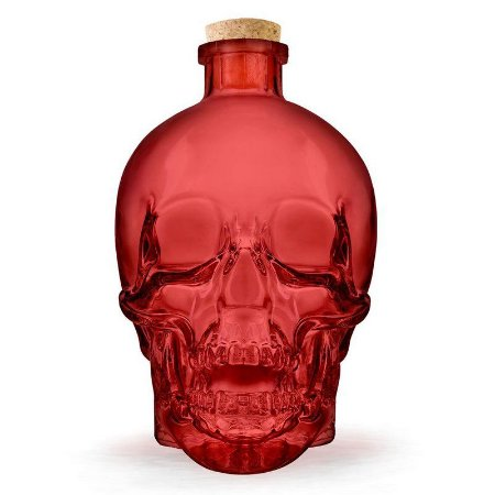 Garrafa de vidro Caveira Skull - vermelha