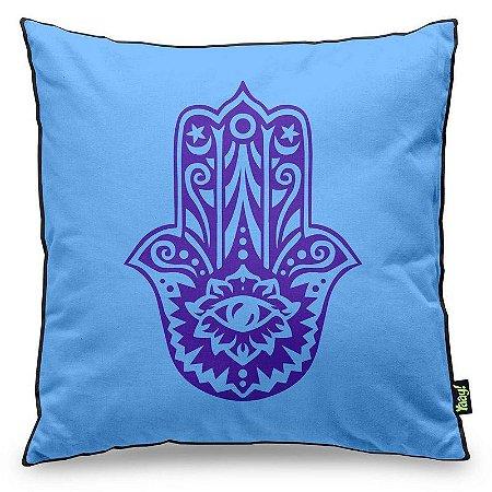 Almofada Hamsá Mão de Deus - azul com fundo preto