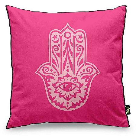 Almofada Hamsá Mão de Deus - rosa com fundo preto