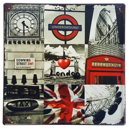Placa de Metal Decorativa I Love London - 30 x 30 cm
