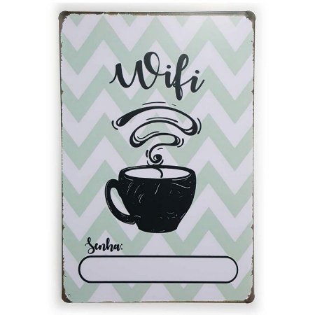 Placa de Metal Wifi Coffee - 30 x 20 cm