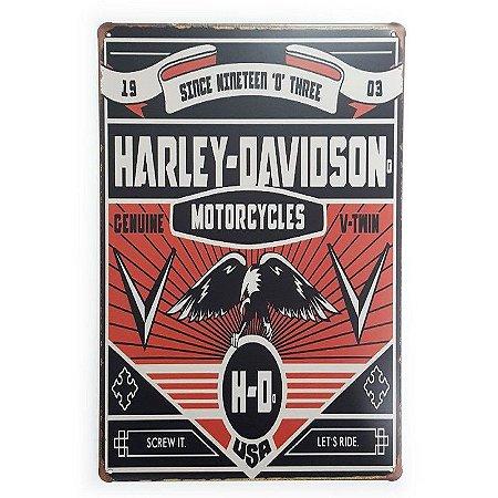 Placa de Metal Harley-Davidson Genuine V-Twin - 30 x 20 cm