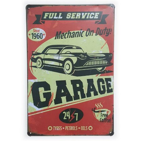 Placa de Metal Garage Full Service - 30 x 20 cm