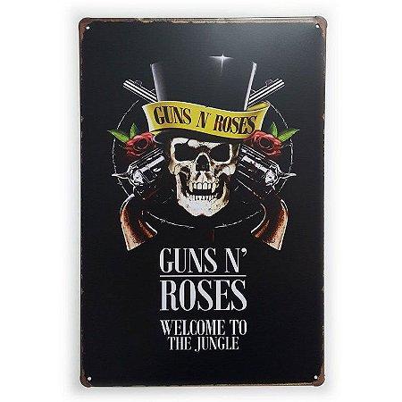 Placa de Metal Guns n' Roses Welcome to the Jungle - 30 x 20 cm
