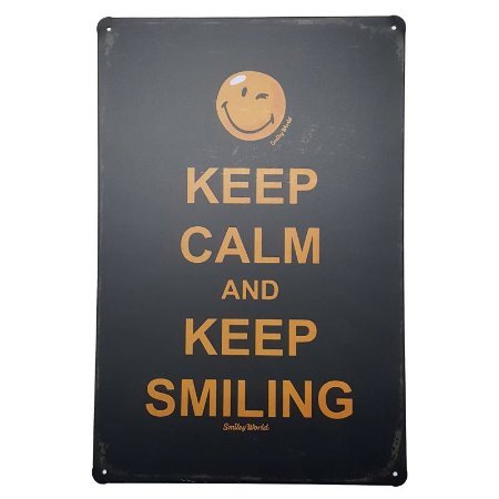 Placa de Metal Decorativa Keep Calm Keep Smiling