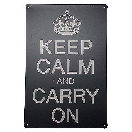 Placa de Metal Decorativa Keep Calm and Carry On