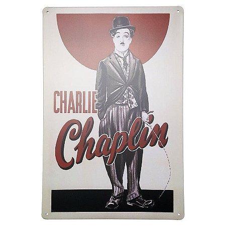 Placa de Metal Decorativa Charlie Chaplin